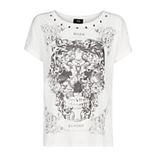 Buy Mango Stud Detail Skull Print T-Shirt, Natural White Online at johnlewis.com
