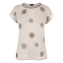 Buy Warehouse Bead Embellished Chiffon T-Shirt, Light Grey Online at johnlewis.com