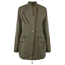 Buy Warehouse Asymmetric Zip Military Parka Jacket, Khaki Online at johnlewis.com