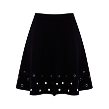 Buy Warehouse Eyelet Skater Skirt, Black Online at johnlewis.com