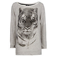 Buy Mango Rhinestone Tiger Jumper, Light Pastel Grey Online at johnlewis.com