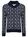 Selected Homme Glass Shawl Neck Jumper, Blue