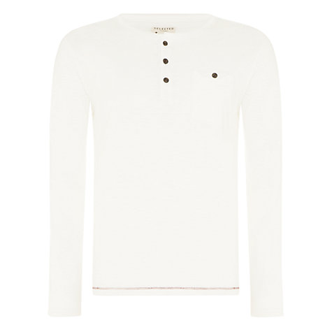 Buy Selected Homme Baxter Split Neck Top, White Online at johnlewis.com
