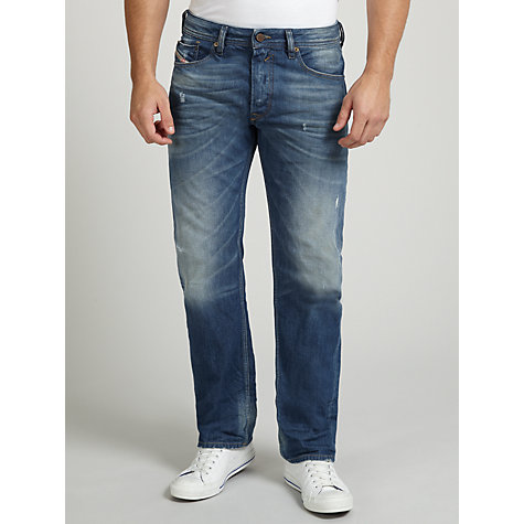 Buy Diesel Waykee Regular Tapered Jeans, Light Blue Distressed Online at johnlewis.com