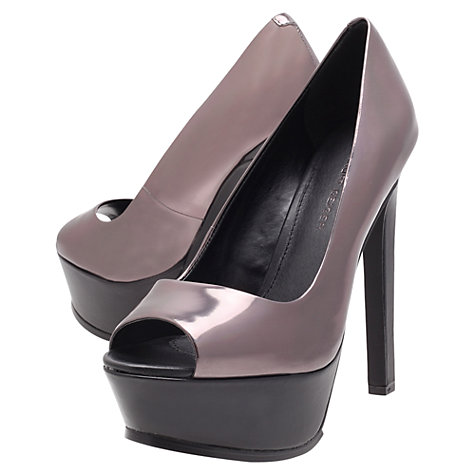 Buy KG by Kurt Geiger Hyper High Heel Platform Court Shoes, Pewter Online at johnlewis.com