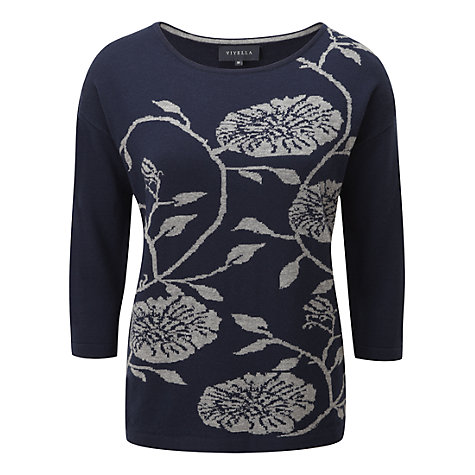 Buy Viyella Jacquard Floral Jumper, Atlantic Blue Online at johnlewis.com