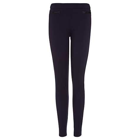Buy Jigsaw Leather Pocket Leggings, Navy Online at johnlewis.com