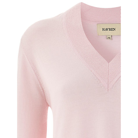 Buy Havren Oversized V-Neck Jumper, Pale Pink Online at johnlewis.com