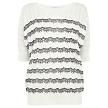 Buy Oasis Lace Stripe Batwing Top, White Online at johnlewis.com