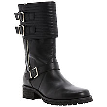 Buy Dune Black Puligo Quilted Leather Biker Boots, Black Online at johnlewis.com