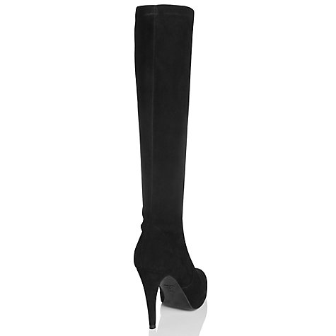 Buy L.K. Bennett Belle Suede Knee High Boots, Black Online at johnlewis.com