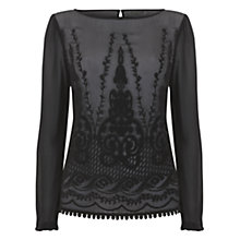 Buy Mint Velvet Embroidered Blouse, Black Online at johnlewis.com