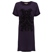 Buy Jigsaw Silk Front Applique Dress, Amethsyt Online at johnlewis.com