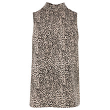 Buy Oasis Roll Neck Animal Print Top, Black Online at johnlewis.com