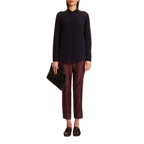 Buy Jigsaw Jacquard Tailored Trousers, Burgandy Online at johnlewis.com