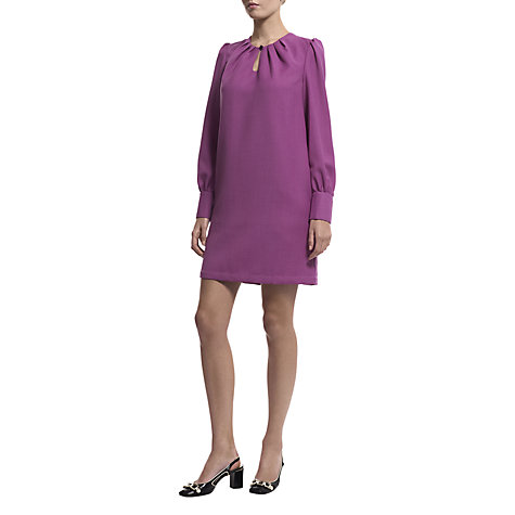 Buy Havren Tuck Neck Shift Dress, Fuchsia Online at johnlewis.com
