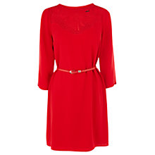 Buy Oasis Lace Neck Shift Dress, Rich Red Online at johnlewis.com