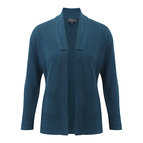 Buy Viyella Petite Stitch Hem Cardigan, Teal Online at johnlewis.com