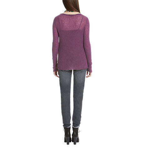 Buy Jigsaw Cashmere Open Knit Sweater, Purple Online at johnlewis.com