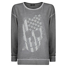 Buy Mango Rhinestone Skull Sweatshirt, Grey Online at johnlewis.com