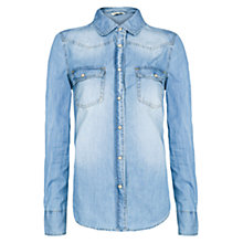 Buy Mango Light Wash Denim Shirt, Natural White Online at johnlewis.com