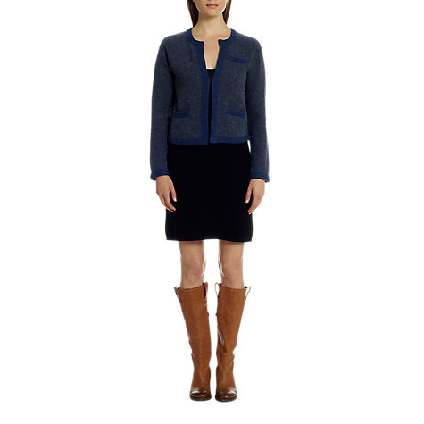 Buy Jigsaw Lambswool Tweed Knit Jacket, Blue Online at johnlewis.com