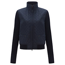 Buy Jigsaw Knit Sleeve Quilted Jacket, Navy Online at johnlewis.com