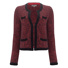 Buy Jigsaw Tweed Lambswool Knitted Jacket, Pink Online at johnlewis.com
