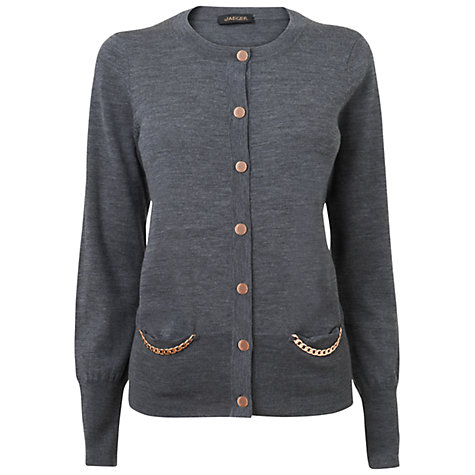Buy Jaeger Merino Chain Cardigan, Grey Online at johnlewis.com