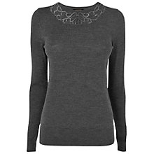 Buy Jaeger Lace Neck Jumper, Charcoal Online at johnlewis.com