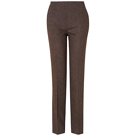 Buy Jaeger Leather Detail Trousers, Charcoal Online at johnlewis.com