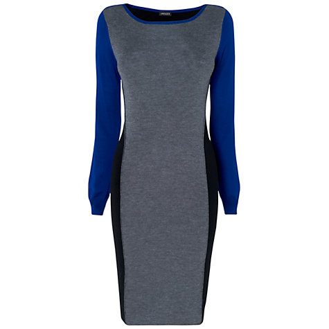 Buy Jaeger Colour Block Knitted Dress, Bright Blue Online at johnlewis.com