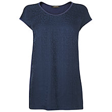 Buy Jaeger Jacquard Panel Top, Navy Online at johnlewis.com