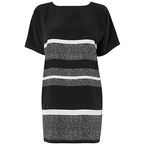 Buy Jaeger Tweed Print Silk Tunic Dress, Black Online at johnlewis.com