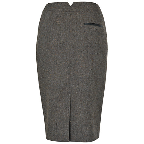 Buy Jaeger Charcoal Leather Detail Pencil Skirt, Charcoal Online at johnlewis.com