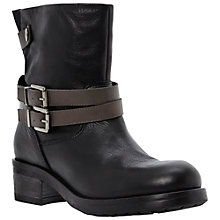 Buy Dune Black Piazza Contrast Strap Biker Boots Online at johnlewis.com