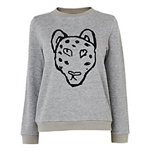 Buy Boutique by Jaeger Leopard Face Sweatshirt, Grey Online at johnlewis.com