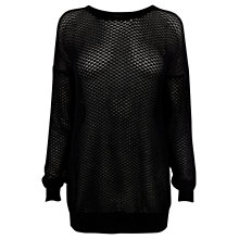 Buy Warehouse Fringe Back Jumper, Black Online at johnlewis.com