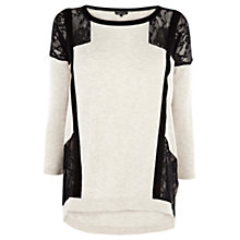 Buy Warehouse Pointelle Strap Lace Jumper, Cream Online at johnlewis.com