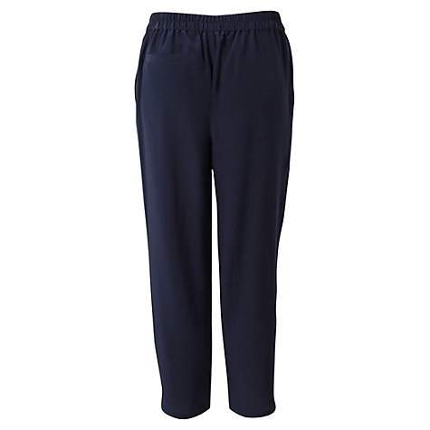 Buy East Washed Silk Elastic Waist Trousers, Navy Online at johnlewis.com