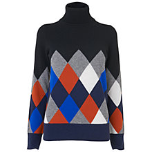 Buy Jaeger Argyle Roll Neck Sweater, Multi Online at johnlewis.com