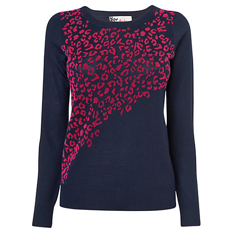 Buy Boutique by Jaeger Leopard Jumper, Navy Online at johnlewis.com