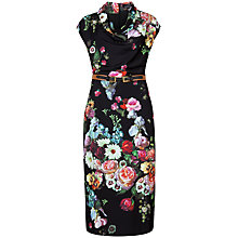 Buy Ted Baker Robyne Oil Painting Cowl Neck Dress, Black Online at johnlewis.com
