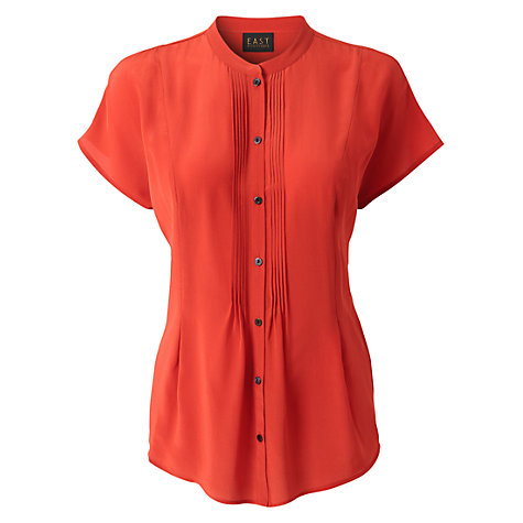 Buy East Pleat Front Silk Blouse, Mandarin Online at johnlewis.com