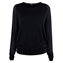 Buy Warehouse Pointelle Zip Shoulder Jumper, Navy Online at johnlewis.com