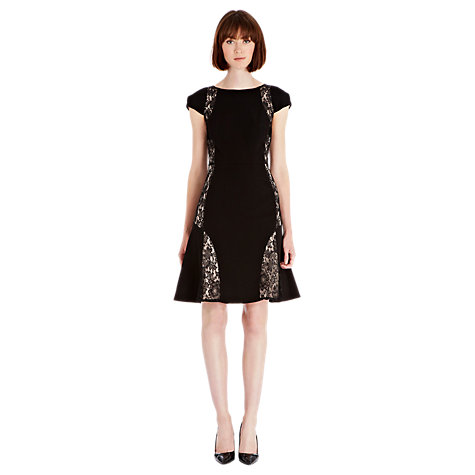 Buy Warehouse Lace Panelled Dress, Black Online at johnlewis.com