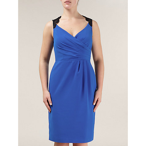 Buy Alexon Lace Trim Dress, Blue Online at johnlewis.com