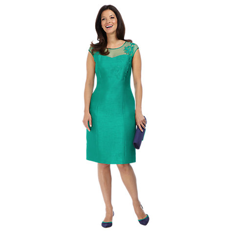 Buy Jacques Vert Sheer Yoke Shift Dress, Jade Online at johnlewis.com