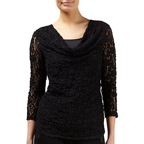 Buy Kaliko Cowl Neck Lace Top, Black Online at johnlewis.com