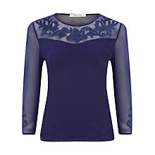 Buy Jacques Vert Sheer Yoke Blouse, Blue Online at johnlewis.com